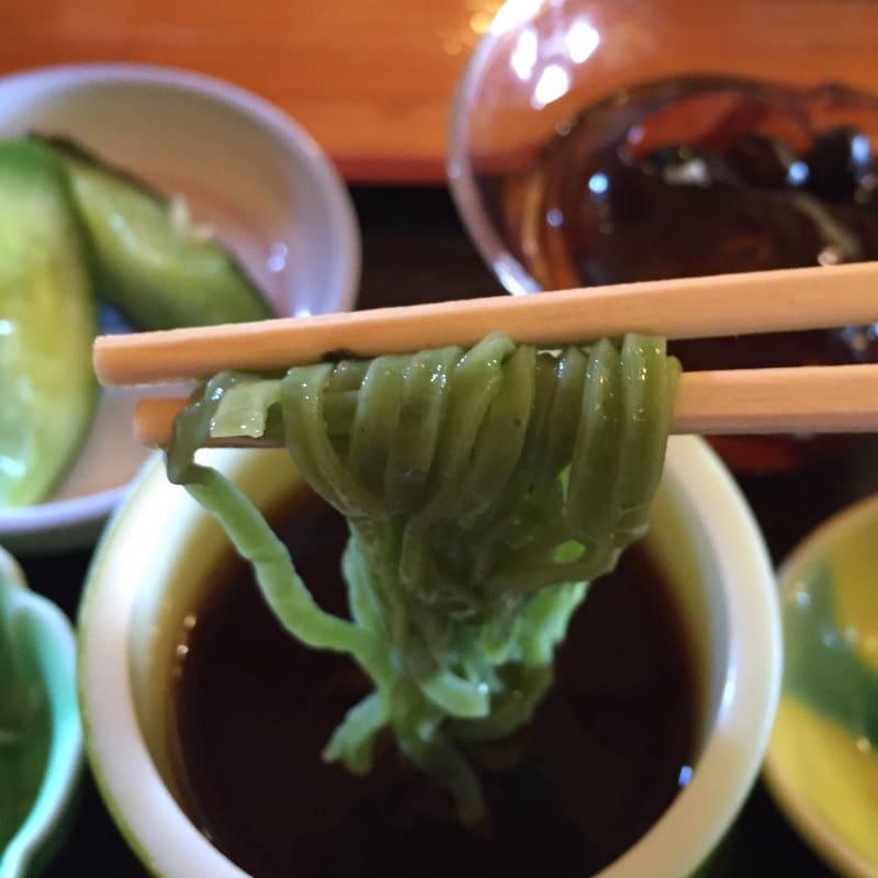 農家レストラン ゆう菜家 美人三色めんざるセット モロヘイヤ麺