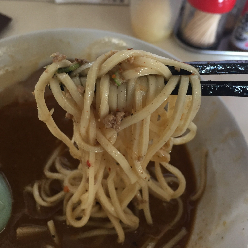 自家製麺 麺屋にぼすけ美郷店 特製辛口らあめん 麺