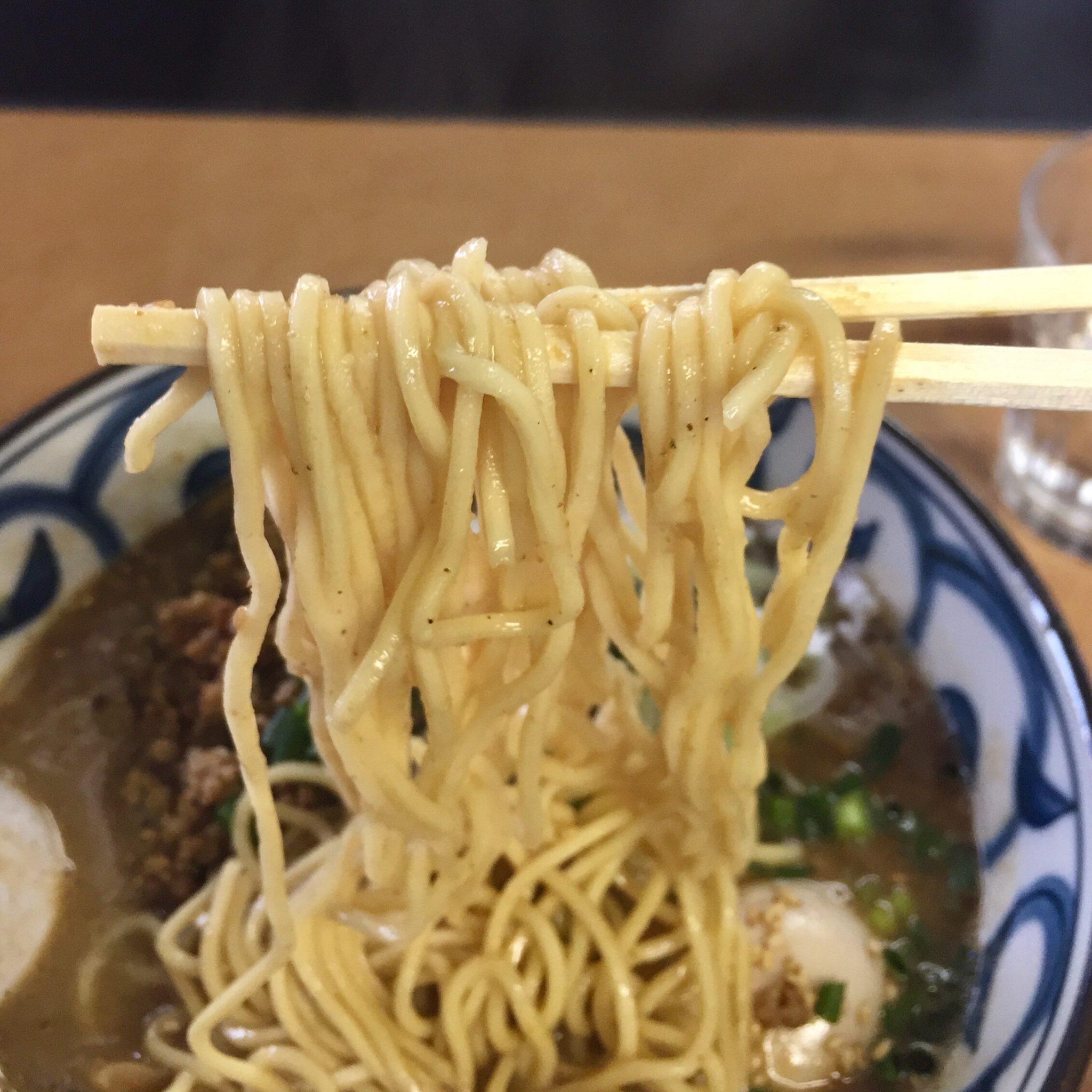 らーめん萬亀 坦々麺 あっさり味噌 麺