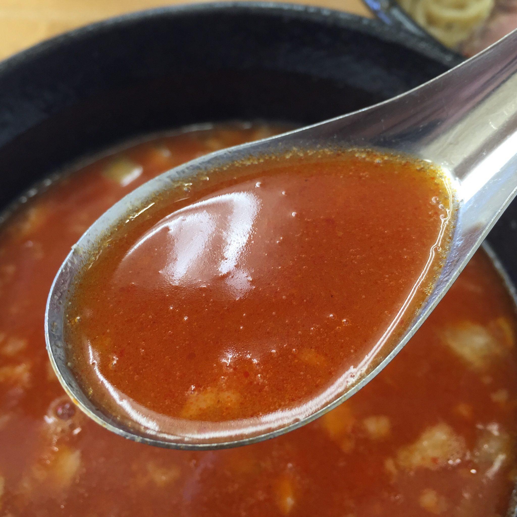 麺屋 羅漢 メニュー カラシビつけ麺 辛痺つけ麺 つけ汁 スープ