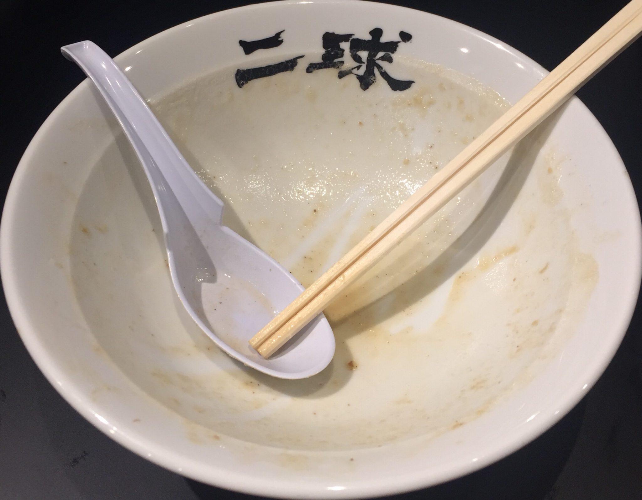 二球 超濃厚豚骨鶏白湯・三代目海老そば「改」 完食