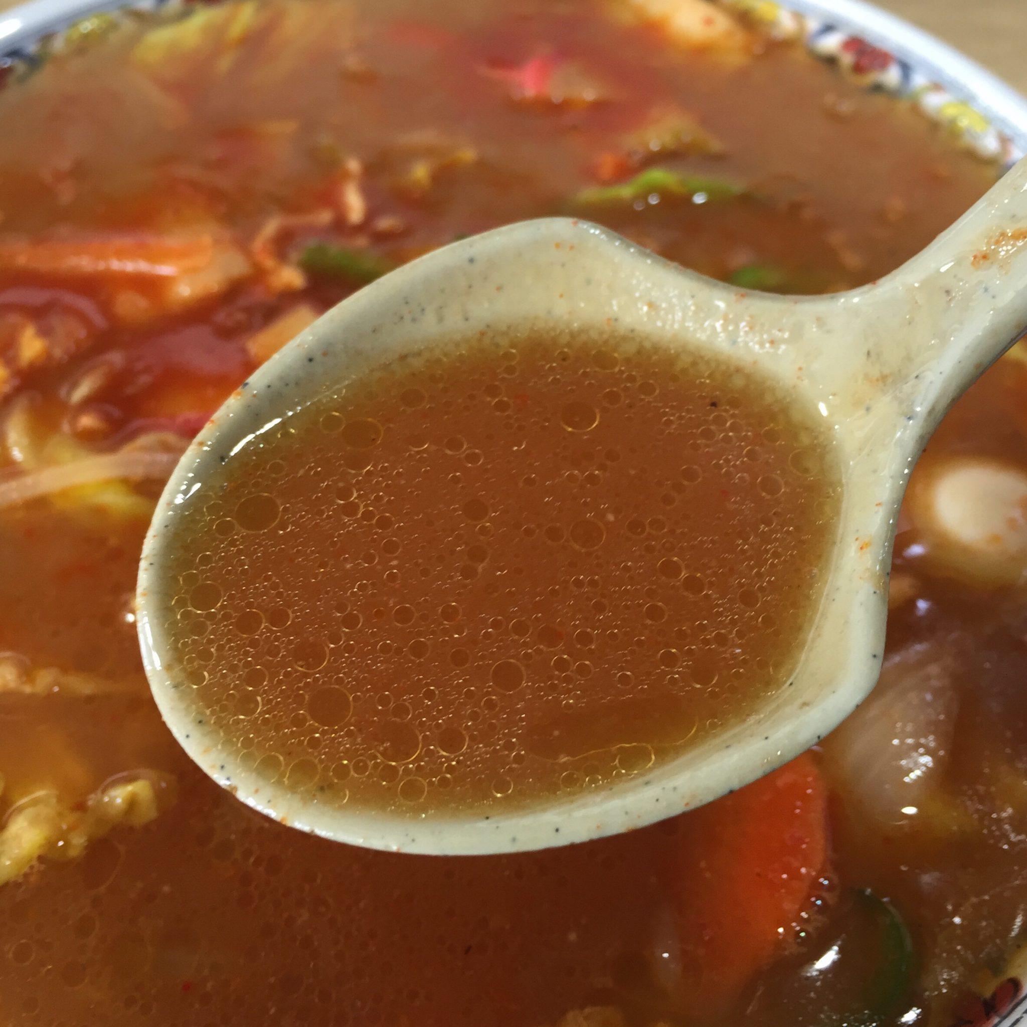 ラーメン万万(バンバン) 味噌ちゃんぽん 大辛 スープ