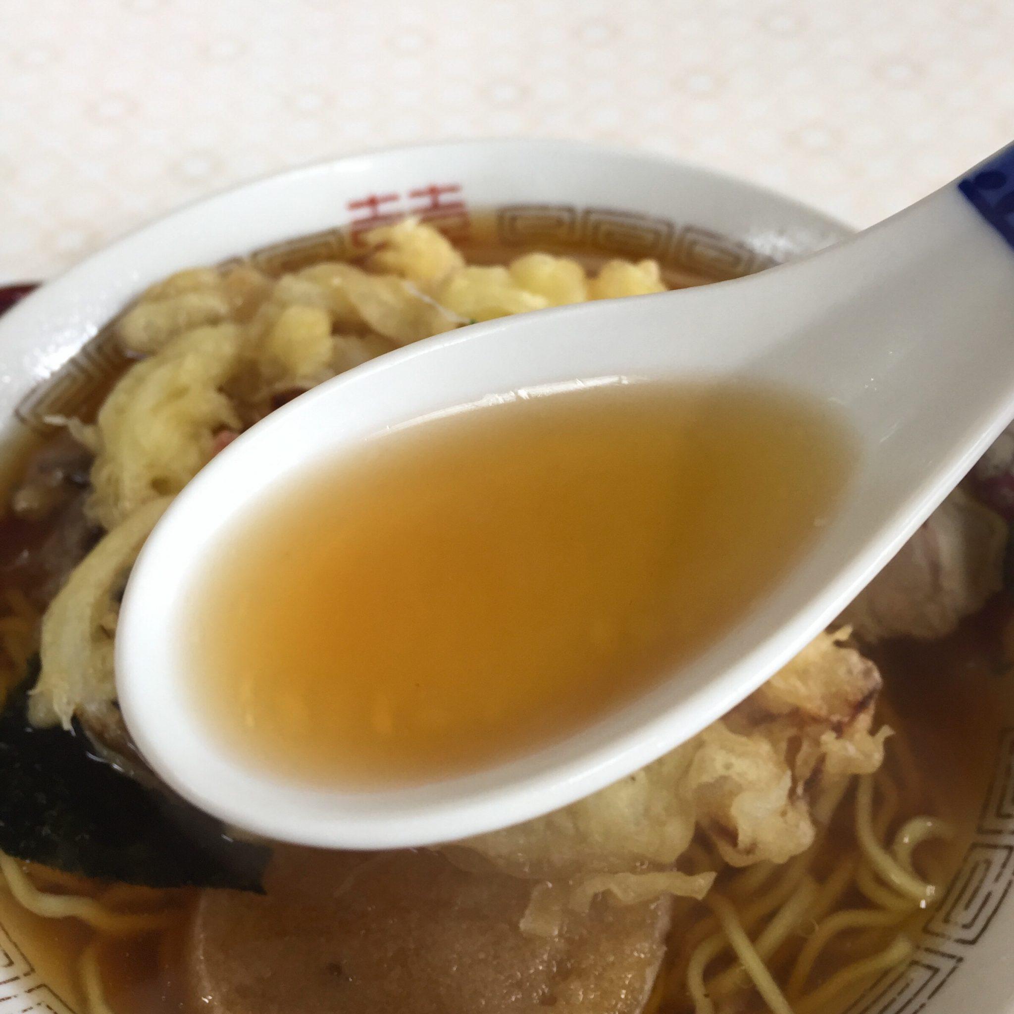食堂 味よし味二番 天ぷら中華 スープ