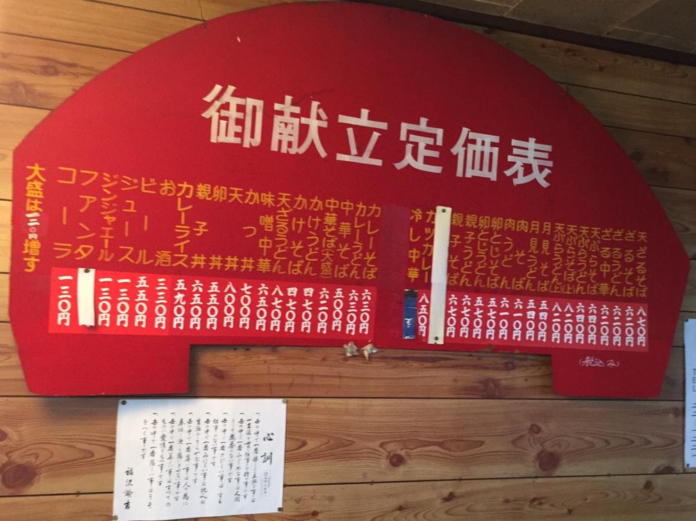 清吉そばや 岩渕支店 メニュー