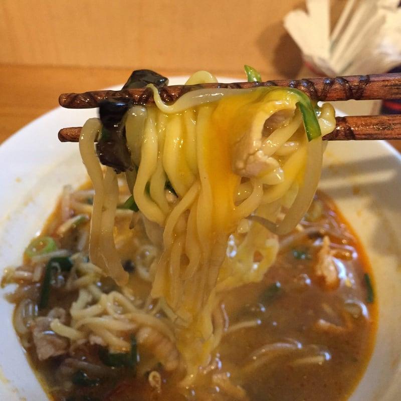 中華そばde小松 秋田県大仙市 辛いニラあんかけそば 麺 卵黄