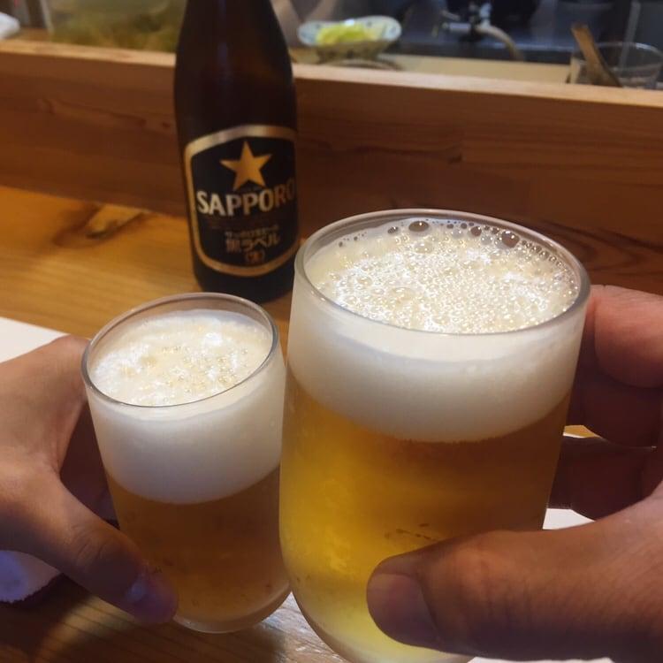すし兆 秋田市中通 乾杯 ビール
