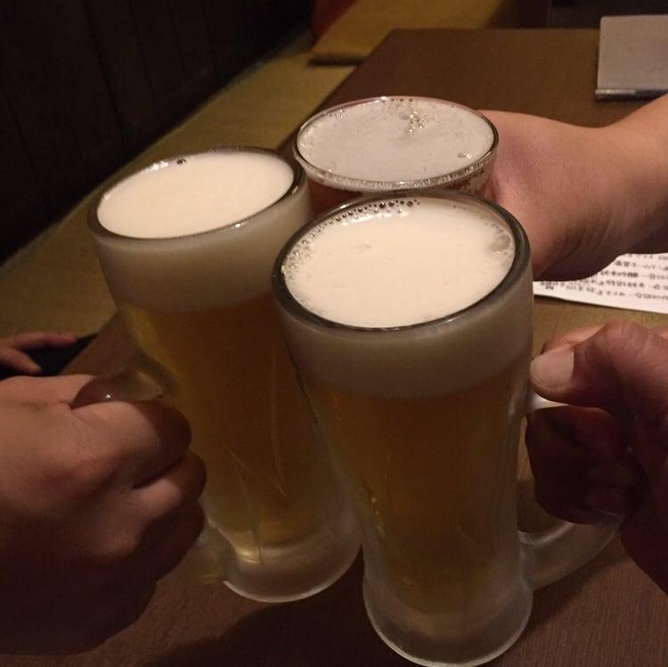 骨酒と地酒 酒讃家 秋田市山王 生ビール 乾杯