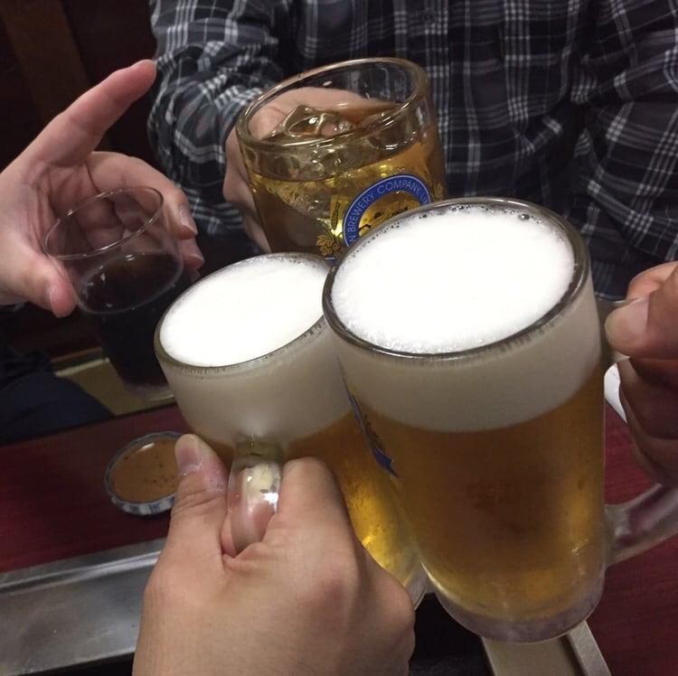 焼肉まいど 秋田市大町 生ビール 乾杯