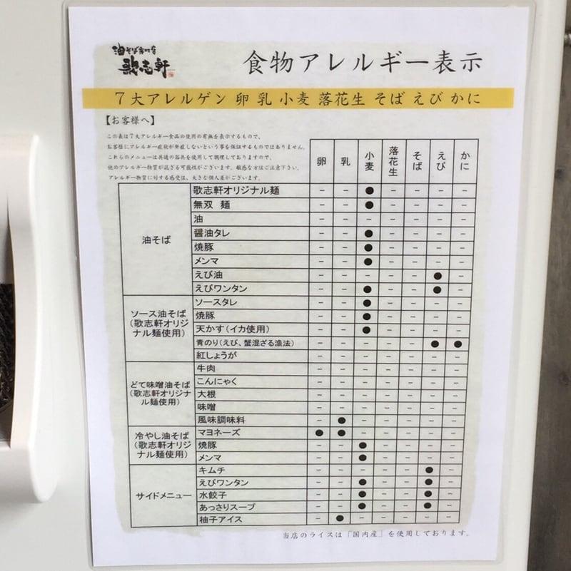 油そば専門店 歌志軒 秋田駅前店 秋田市中通 アレルギー表示