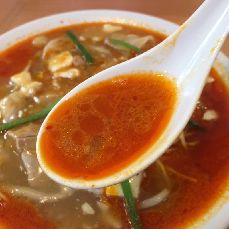 自家製麺 麺や二代目 夜来香 秋田市飯島 辛痺味噌スーラータンメン スープ