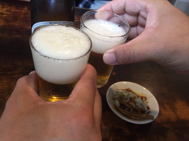 丸長中華そば店 本店 東京都杉並区荻窪 ビール 大瓶 乾杯