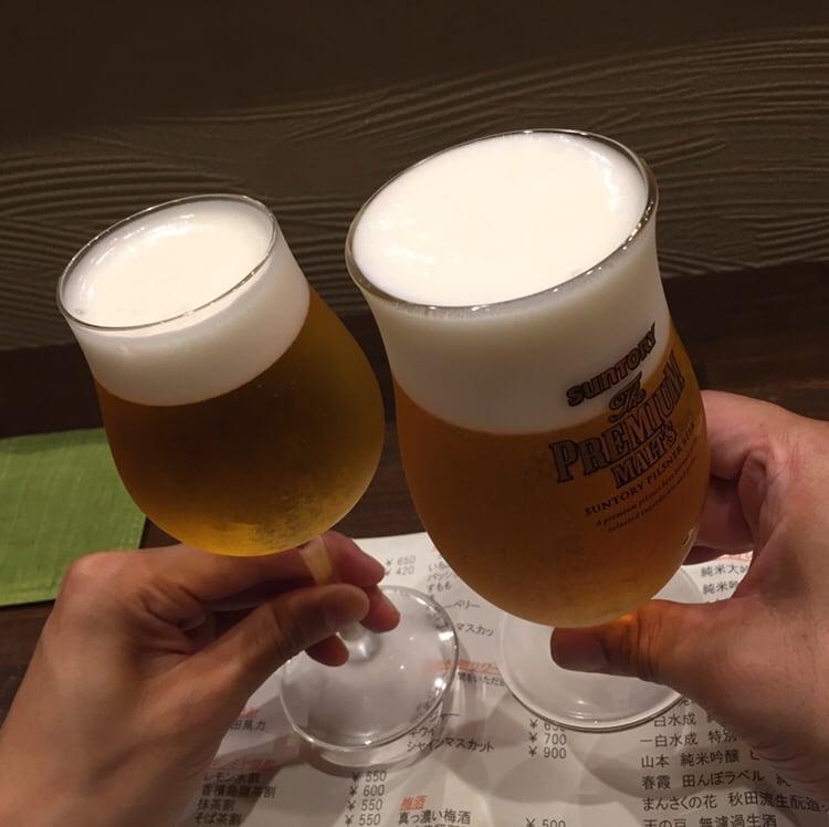 心粋厨房 獬(シエ) 秋田市南通 生ビール 乾杯