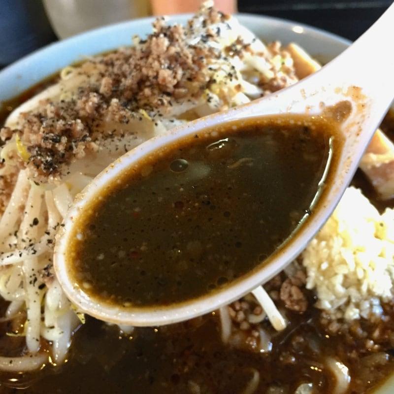 ラーメン マシンガン 秋田市広面 黒ごま担々麺 胡麻 スープ