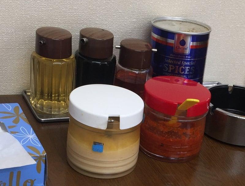 ラーメン五番 秋田市山王 つけめん 味噌 味変 調味料