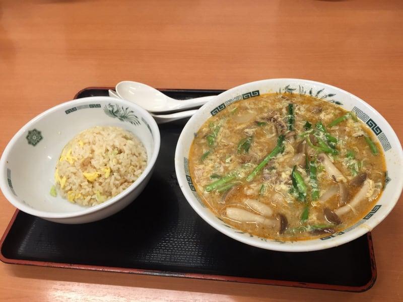 日高屋 新橋烏森通店 東京都港区新橋 酸辣きのこ湯麺+半チャーハンセット