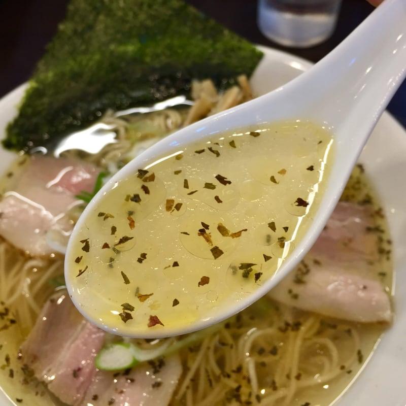 麺屋 蓮 秋田県秋田市卸町 バジル塩 塩ラーメン スープ