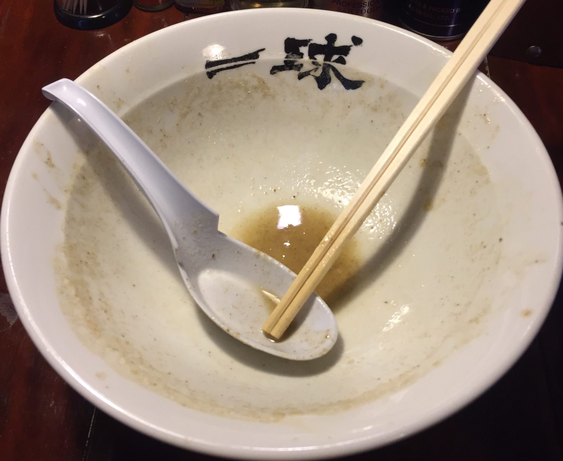 一球 秋田県秋田市手形 五代目煮干そば「極」改 超濃厚豚骨鶏白湯 完食