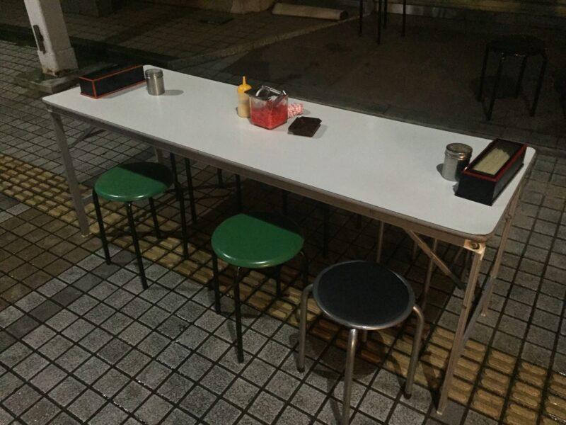 屋台 池田屋ごんちゃん 福井県敦賀市本町 テーブル イス