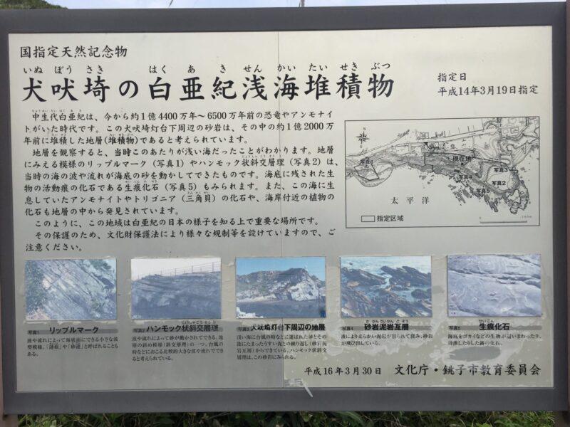 犬吠埼 君ヶ浜しおさい公園 千葉県銚子市君ヶ浜 白亜紀浅海堆積物 看板