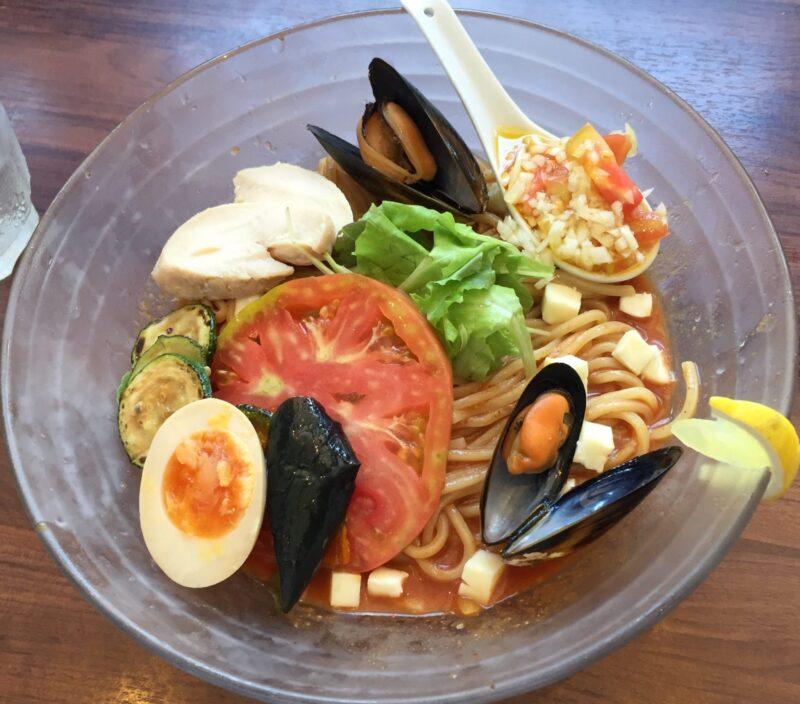 麺や ようか 新潟県小千谷市若葉 限定 夏野菜の冷製トマチリ和え麺