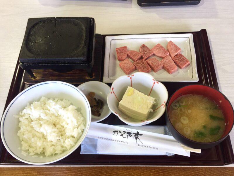 手打ちそば処 かえで庵 秋田県湯沢市皆瀬 みなせ牛 ステーキ 皆瀬牛とご飯とみそ汁セット