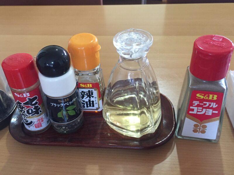 味処 きく味 居酒屋 喜久味 秋田県潟上市昭和乱橋 味噌つけめん 味変 調味料
