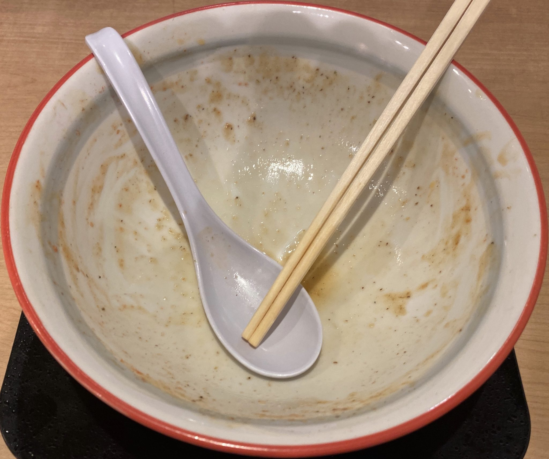 麺や陽風 はるかぜ 山形県山形市清住町 ラーメン女子会限定 鶏白湯海老ver 完食