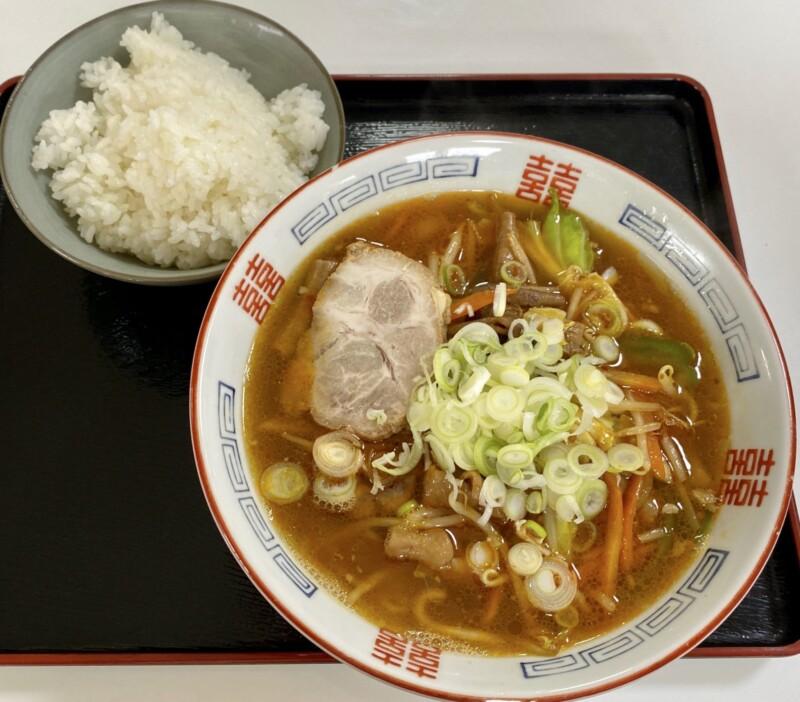 キッチン山河 さんが 秋田県由利本荘市鳥海町下川内 ホルモンラーメン ごはん