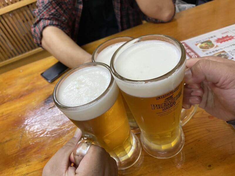 中華蕎麦 みやま 千葉県柏市松ヶ崎 北柏 生ビール 乾杯