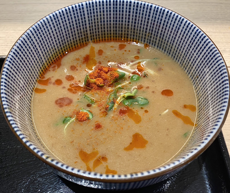 麺や庄の ららぽーと沼津店 静岡県沼津市東椎路 エビ辛つけめん 海老辛つけ麺 つけ汁 スープ