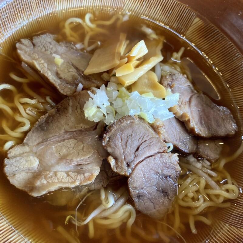 レストラン二条 秋田県能代市落合 醤油ラーメン 具 小ライス サラダ付き