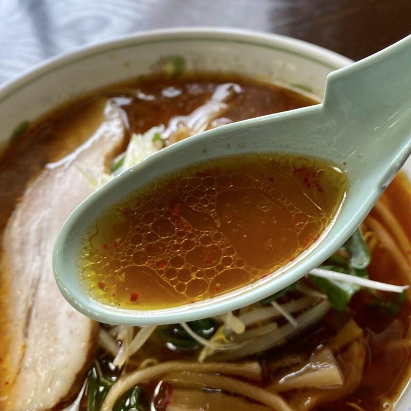 キッチン咲 さき 秋田県能代市二ツ井町 ニラもやし ちょい辛 ピリ辛こがし醤油ラーメン スープ