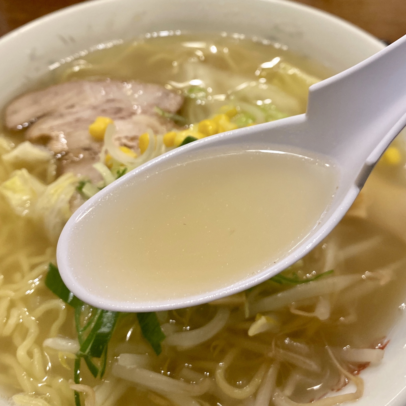 ファミリーレストラン園 その 秋田県男鹿市船川港船川 しおラーメン 塩ラーメン スープ