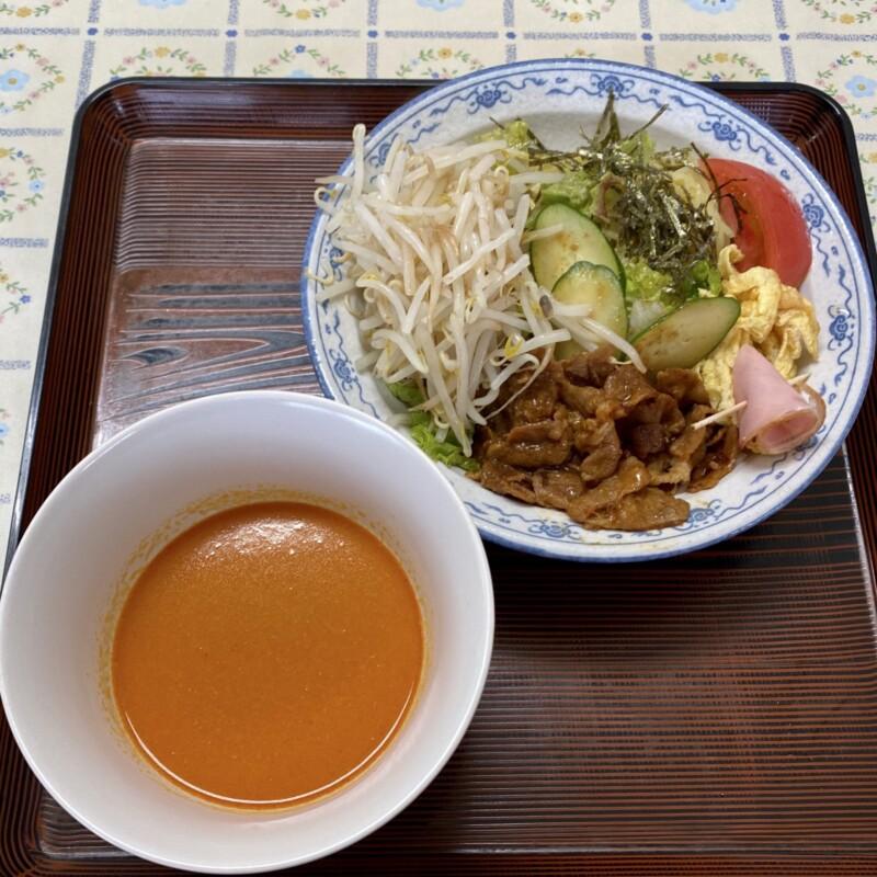 レストラン真珠 真珠食堂 秋田県能代市二ツ井町 スタミナ冷しラーメン 辛付け麺 辛口つけめん