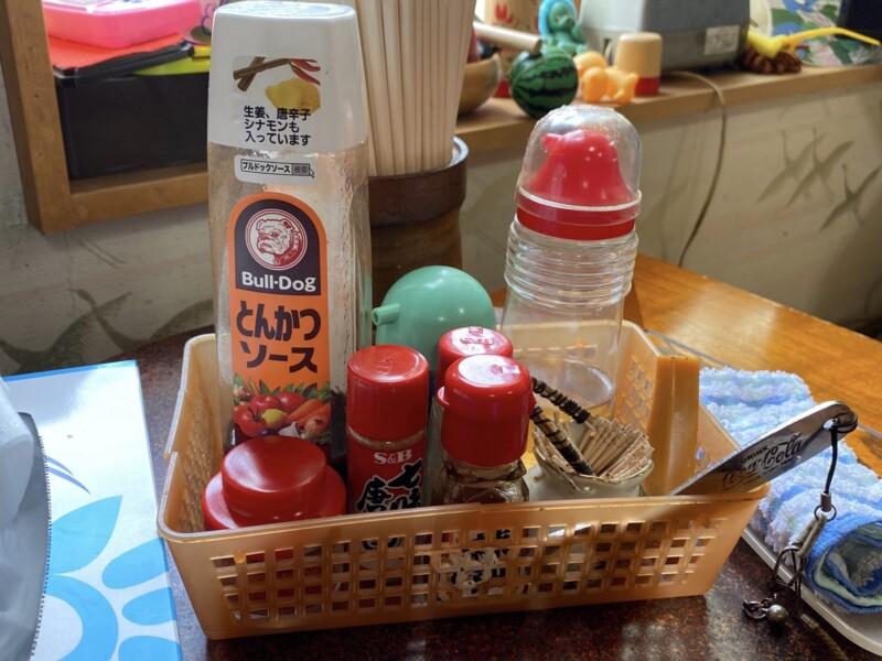 大蔵食堂 山形県最上郡大蔵村清水 からみそラーメン 辛味噌ラーメン 味変 調味料