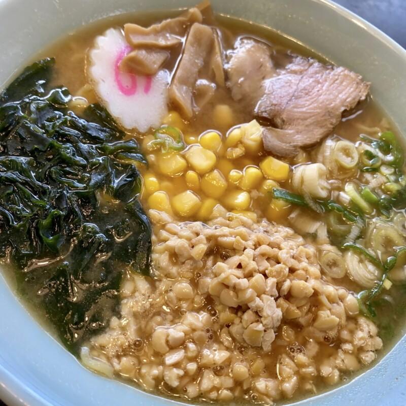 レストランしらやま 秋田県男鹿市払戸 男鹿ふっと観光案内所内 納豆ラーメン みそ味 味噌ラーメン 具