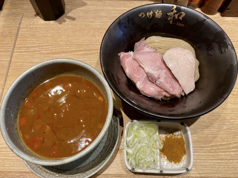 つけ麺 和-KAZU-(かず) 仙台広瀬通店 宮城県仙台市青葉区本町 カレーつけ麺 並盛