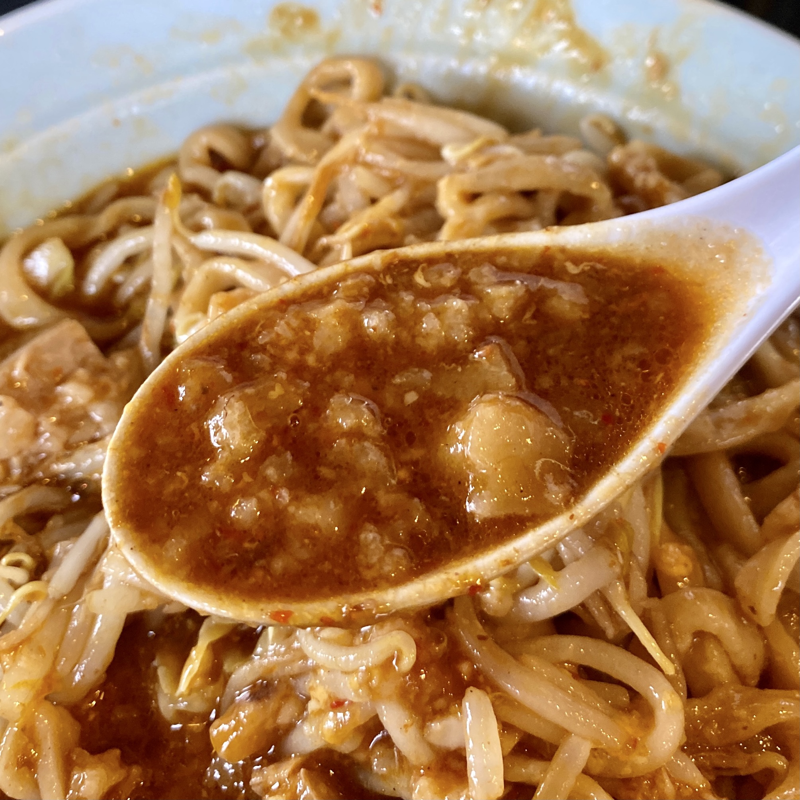 ラーメン マシンガン 秋田県秋田市広面 カレーそば 辛そば味 チェダーチーズ スープ