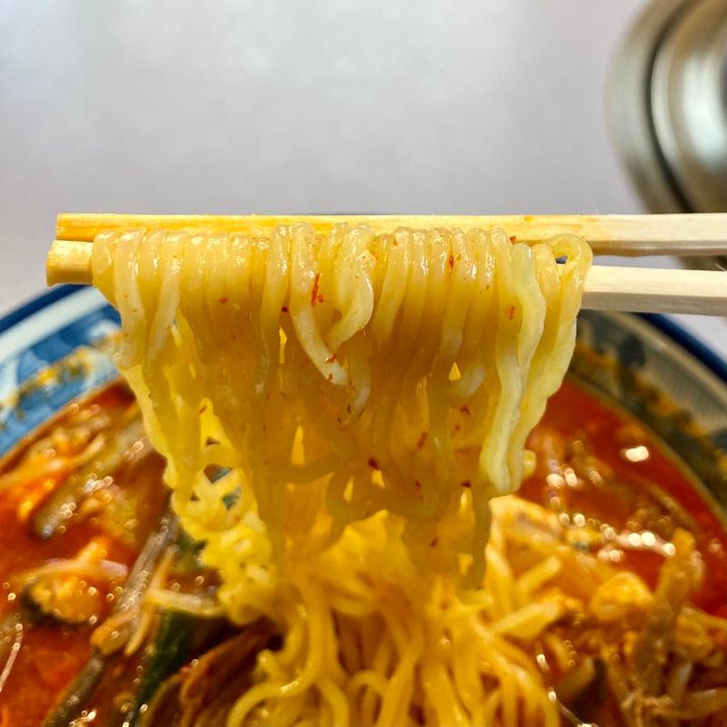焼肉亭 牛ちゃん 秋田県にかほ市象潟町 テグタンラーメン(辛) 麺