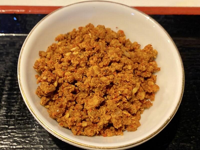 麺絆英 めんばんひで 山形県鶴岡市文下 辛肉つけ麺 具