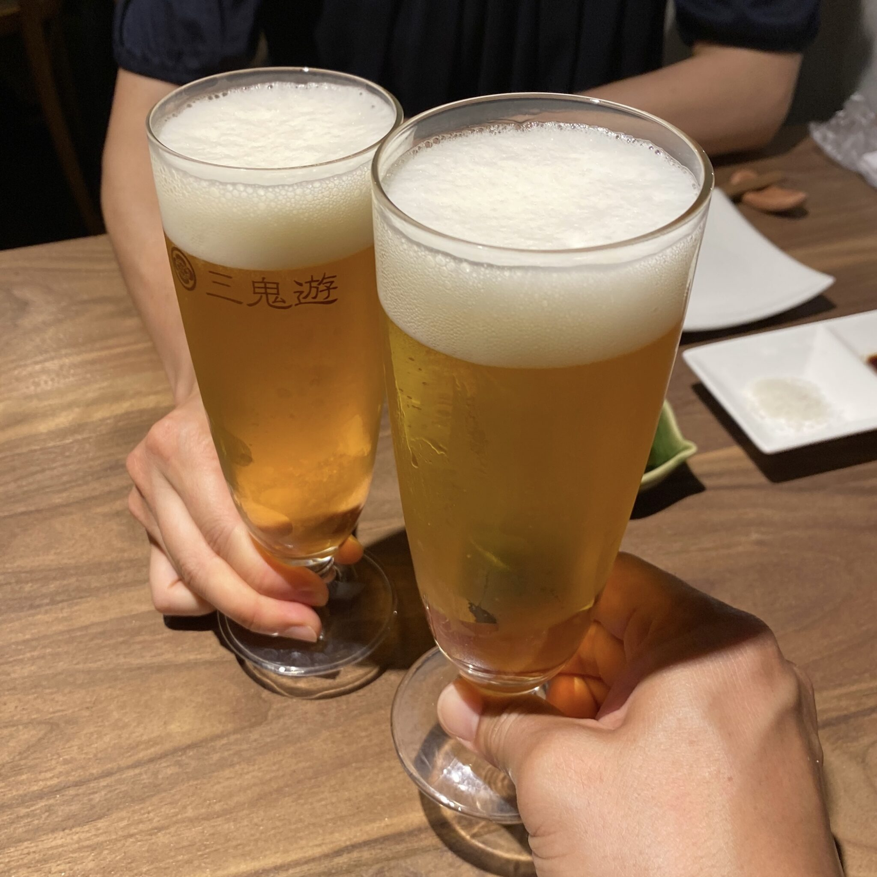 とりやきoniya おにや 新潟県新潟市中央区東堀前通 生ビール 乾杯
